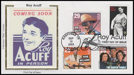 3812 / 37c Roy Acuff : Country Singer Combo 2003 Colorano Silk First Day Covers