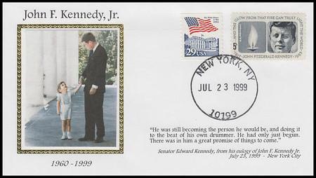John F. Kennedy, Jr. Set of 2 Memorial Covers Colorano Silk 1999