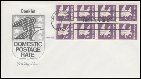 """1819a / 18c """"B"""" Eagle Booklet of 8 Artmaster 1981 First Day Cover"""