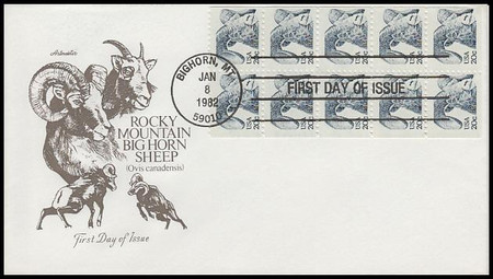 1949a / 20c Bighorn Sheep Booklet of 10 Artmaster 1982 First Day Cover