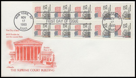 1896bv / 20c Flag Over Supreme Court Booklet of 10 Artmaster 1983 First Day Cover