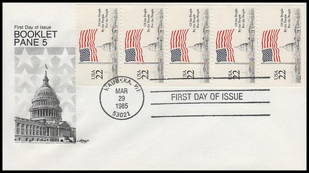 2116a / 22c Flag Over Capitol Booklet of 5 Artmaster 1985 First Day Cover