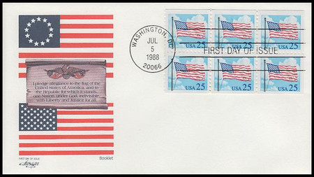 2285a / 25c Flag and Clouds Booklet of 6 Artmaster 1988 First Day Cover