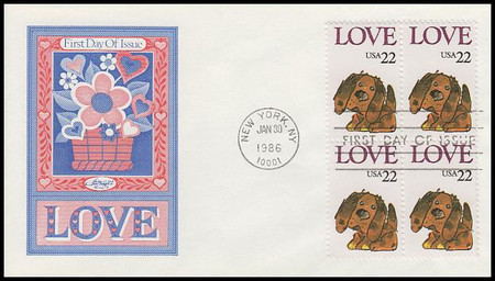2202 / 22c Puppy Love : Love Stamp Series Block of 4 Artmaster 1986 First Day Cover