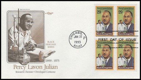 2746 / 29c Percy Lavon Julian : Black Heritage Series Block of 4 Artmaster 1993 FDC