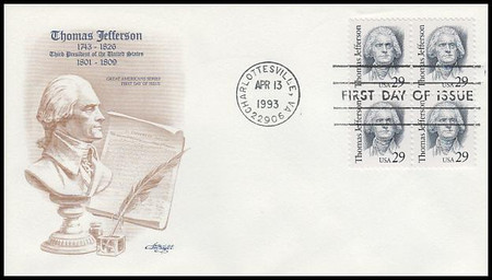 2185 / 29c Thomas Jefferson Great Americans Series Block of 4 Artmaster 1993 FDC
