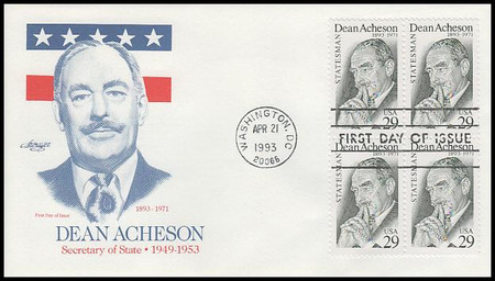 2755 / 29c Dean Acheson Block of 4 Artmaster 1993 First Day Cover