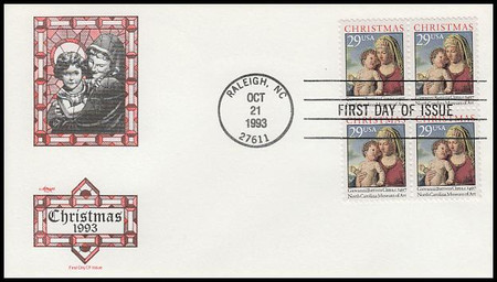 2789 / 29c Madonna And Child : Christmas Traditional Block of 4 Artmaster 1993 FDC