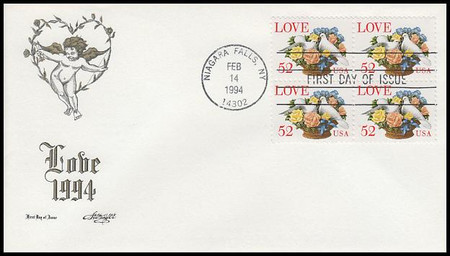 2815 /  52c Dove and Roses : Love Series  Block of 4 Artmaster 1994 FDC
