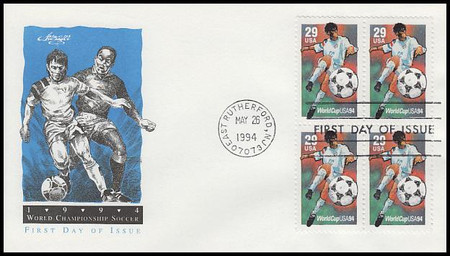 2834 - 2836 / 29c, 40c, 50c World Cup Soccer Set Of 3 Blocks of 4 Artmaster 1994 First Day Covers