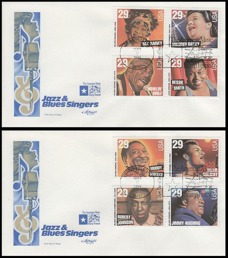 2854 - 2861 / 29c Blues and Jazz Singers All 8 Stamp On 2 Artmaster 1994 FDCs