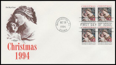 2871 / 29c Madonna and Child : Traditional Christmas Block of 4 Artmaster 1994 FDC