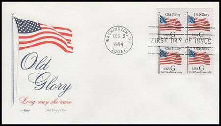 """2881 / 32c Old Glory """"G"""" Rate Change Stamp Block of 4 Artmaster 1994 FDC"""