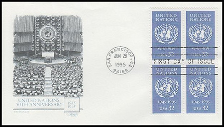 2974 / 32c United Nations Block of 4 Artmaster 1995 First Day Cover