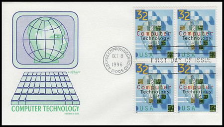 3106 / 32c Computer Technology Block of 4 Artmaster 1996 First Day Cover