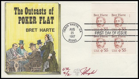 2196 / $5 Bret Harte : Great Americans Series Plate Block Upper Right 1987 Pugh Hand-Painted Limited Edition FDC #2 of 2