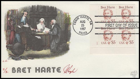 2196 / $5 Bret Harte : Great Americans Series Plate Block Lower Left 1987 Pugh Hand-Painted Limited Edition FDC #2 of 2