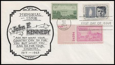 1246 / 5c Kennedy Memorial Combo 1964 Boerger First Day Cover