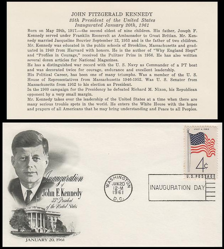 John F. Kennedy 1961 Inauguration Fleewood Event Cover With Insert Card