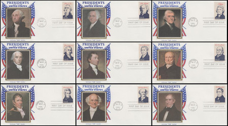 2216a - 2219i / 22c Presidents Ameripex '86 Set of 36 Colorano Silk 1986 FDCs