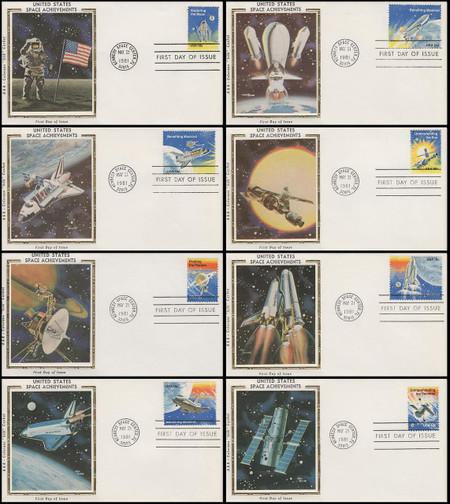 1912 - 1919 / Space Shuttle Columbia / Space Achievements Set of 8 Colorano Silk 1981 FDCs