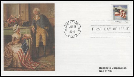 5052 / 49c US Flag :  SSP Plate # Coil S11111 Single Fleetwood 2016 First Day Cover