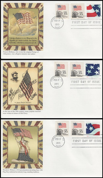 4961 - 4963 / 10c Stars and Stripes Plate # Coil S111 Set of 3 Fleetwood 2015 FDCs