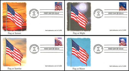 4244 - 4247 / 42c Flags 24/7 Coils Set of 4 Fleetwood 2008 First Day Covers