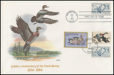 2092 and RW51 / 20c Waterfowl Preservation and $7.50 Wigeons Duck Stamp Dual Cancellation Combo Fleetwood 1984 FDC