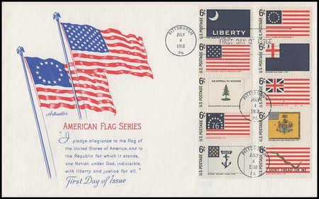 1345 - 54 / 6c Historic American Flags All 10 Stamps on 1 Oversized Large Format Artmaster 1968 FDC
