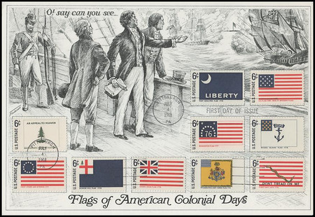 1345 - 54 / 6c Historic American Flags All 10 Stamps on 1 Presentation Card Fleetwood 1968 FDC