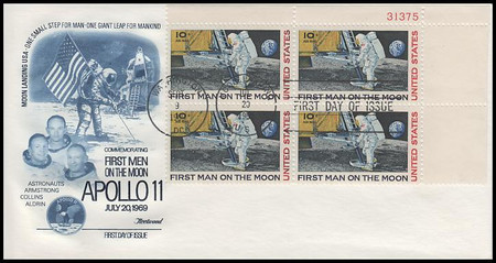 C76 / 10c Moon Landing Plate Block #31375 Fleetwood 1969 First Day Cover