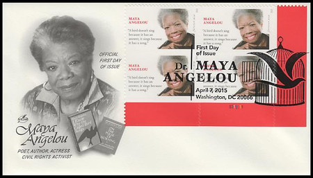 4979 / 49c Maya Angelou Plate Block 2015 Artcraft First Day Cover