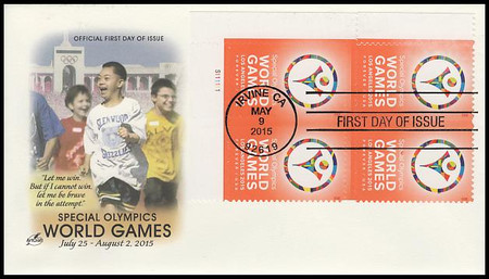 4986 / 49c Special Olympics World Games Plate Block 2015 Artcraft First Day Cover