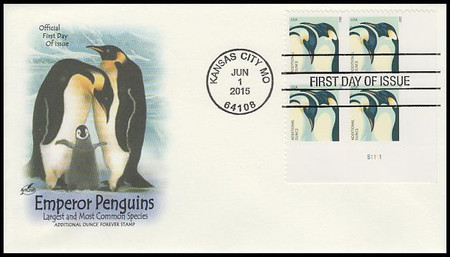 4989 / 22c Penguins Plate Block Artcraft 2015 First Day Cover