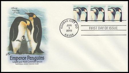 4990 / 22c Penguins Coil Strip of 3 Artcraft 2015 First Day Cover