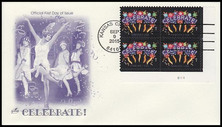 5019 / 49c Neon Celebrate Plate Block 2015 Artcraft First Day Cover