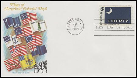 1345 - 54 / 6c Historic American Flags Set of 10 Fleetwood 1968 FDCs