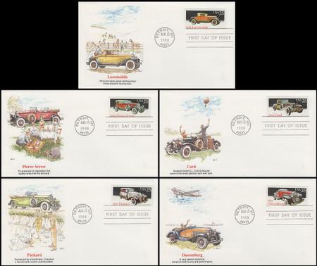 2381 - 2385 / 25c Classic Automobiles Set of 5 Artist Basil Smith Fleetwood 1988 FDCs