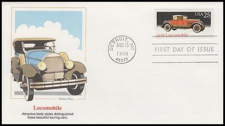 2381 - 2385 / 25c Classic Automobiles Set of 5 Artist Stanley Paine Fleetwood 1988 FDCs