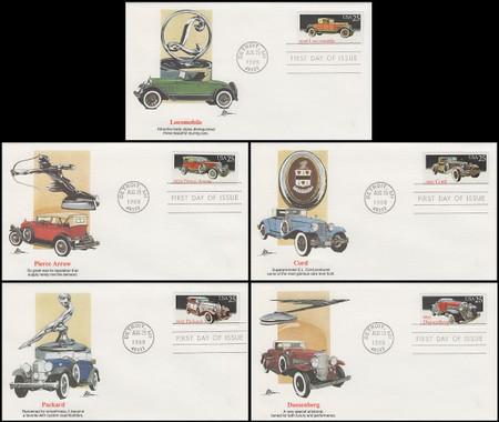 2381 - 2385 / 25c Classic Automobiles Set of 5 Artist John Benson Fleetwood 1988 FDCs