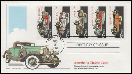 2385a / 25c Classic Automobiles Se-Tenant Booklet of 5 Fleetwood 1988 First Day Cover