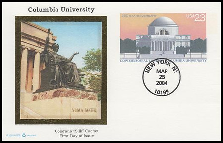 UX405 / 23c Columbia University 250th Anniversary : Historic Preservation Series 2004 Colorano Silk Postal Card FDC