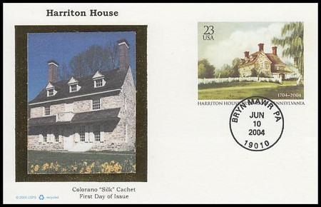 UX406 / 23c Harriton House 300th Anniversary : Historic Preservation Series 2004 Colorano Silk Postal Card FDC