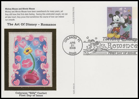 UX450 - UX453 / 24c Romance : Art of Disney Series Set of 4 Colorano Silk 2006 Postal Card FDCs