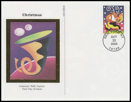 UX401 - UX402 / 23c Holiday Music Makers Set of 4 : Christmas Series Colorano Silk 2003 Postal Card First Day Covers