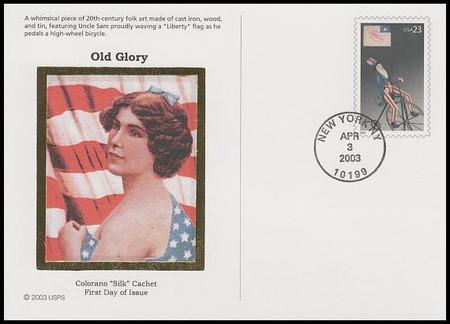 UX390 - UX394 / 23c Old Glory Prestige Set of 5 Colorano Silk 2003 Postal Card FDCs
