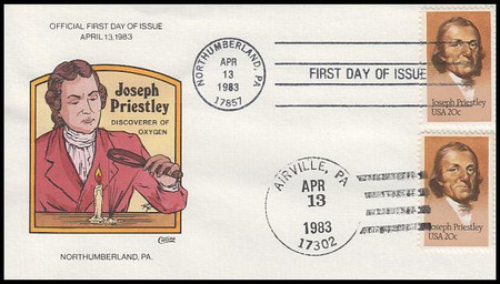 2038 / 20c Joseph Priestley : Dual Cancel 1983 Collins Hand-Painted FDC