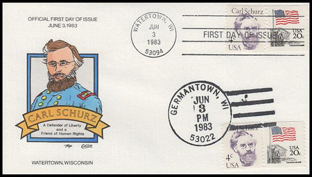 1847 / 4c Carl Schurz : Great Americans Series Dual Cancel 1983 Collins Hand-Painted FDC