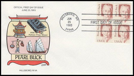 1848 / 5c Pearl Buck : Great Americans Series Block Of 4 Collins Hand-Painted 1983 FDC